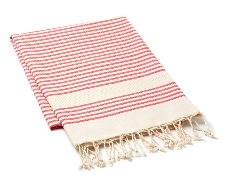 Tiny Stripe Fouta Towel, Pink
