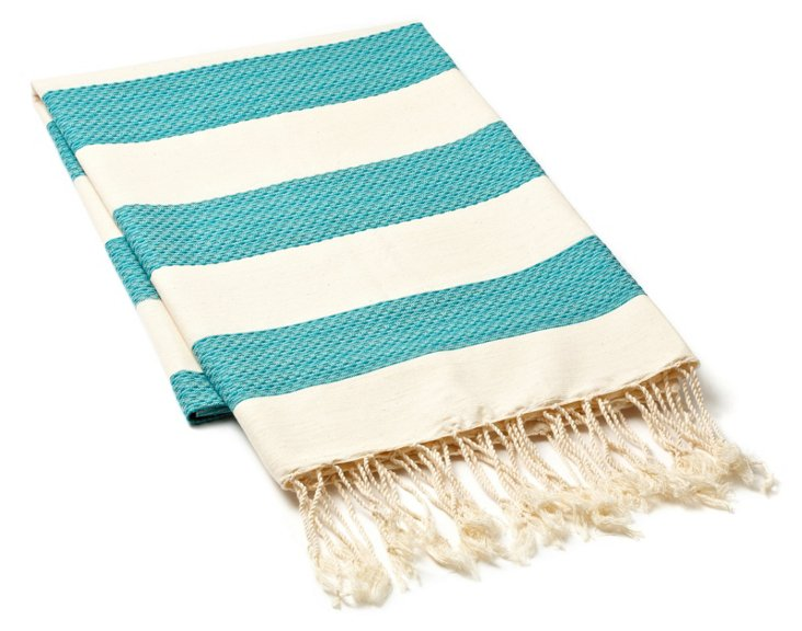 Fouta Chine Striped Towel, Aqua