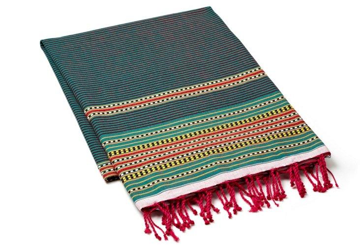 Multi Stripes Fouta Towel, Dark Green