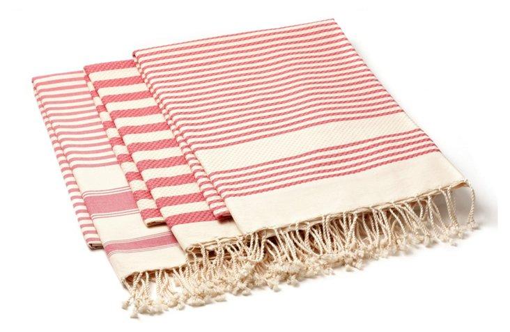 S/3 Fouta Stripe Towels, Pink