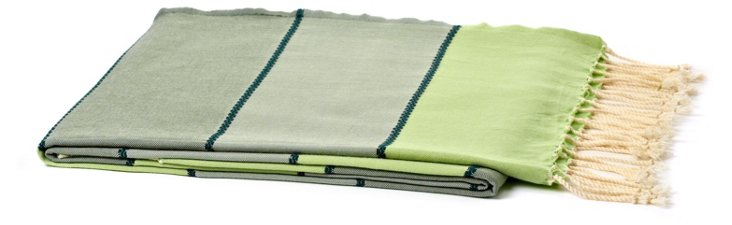 Tricolor Bands Cotton Throw, Green
