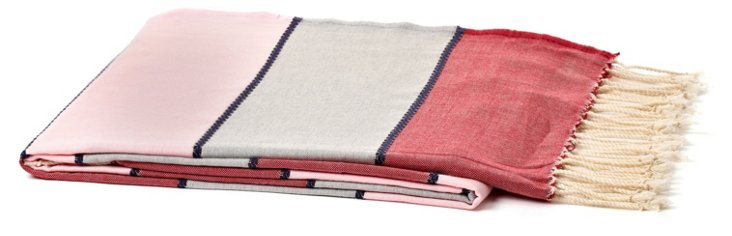 Tricolor Bands Cotton Throw, Pink
