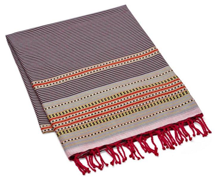 Multi Stripes Fouta Towel, Light Parme