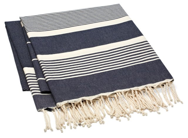 S/2 Fouta Striped Towels, Navy