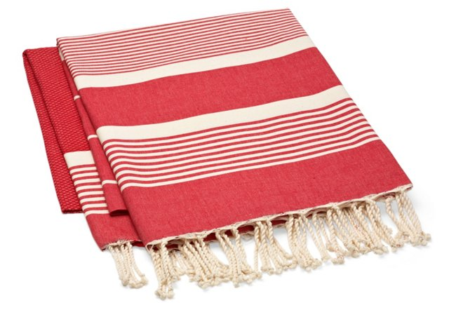 S/2 Fouta Stripe Towel, Red