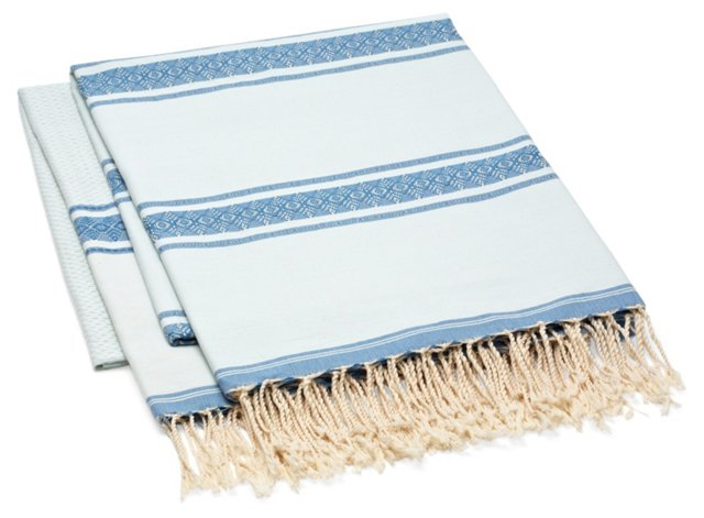 S/2 Fouta Large Striped Towel, Blue