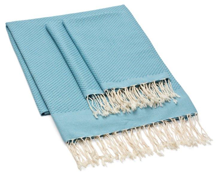 Fouta Towel & S/2 Hand Towels, Seafoam