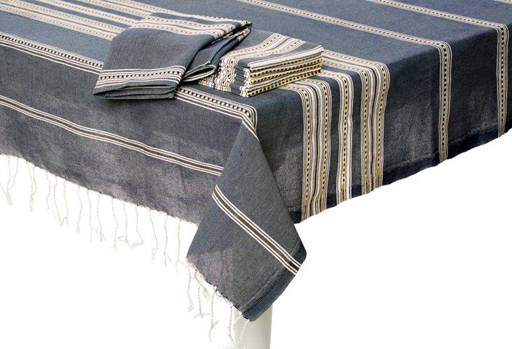 Stripe Tablecloth & 6 Napkins, Gray