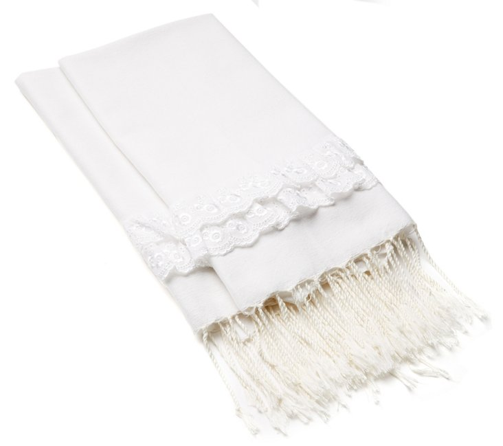S/4 Lace Hand Towels, White