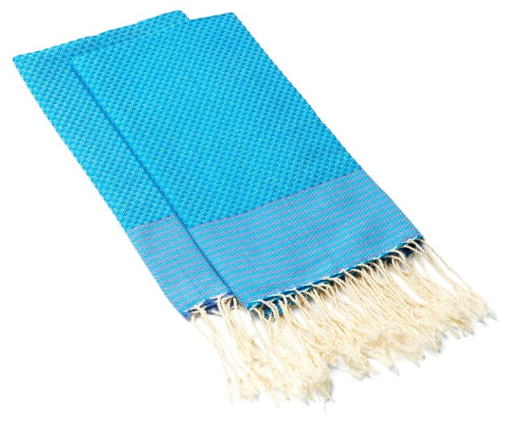 S/4 Striped Hand Towels, Turquoise