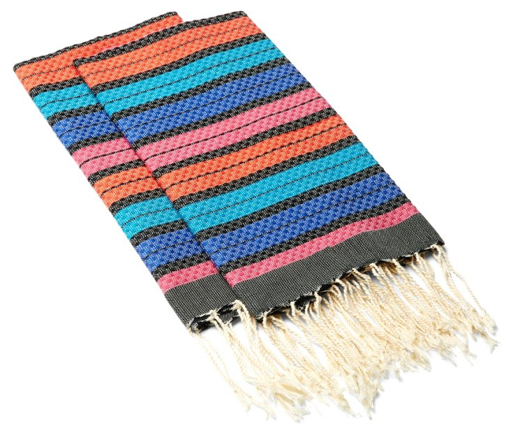 S/4 Stripe Hand Towels, Bright/Multi