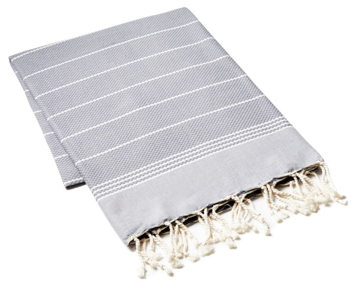 Fouta Irregular Striped Towel, Dark Gray