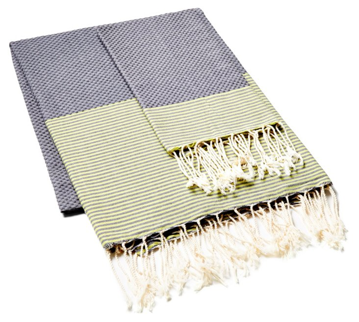 Fouta & Hand Towel Thin Striped, Gray