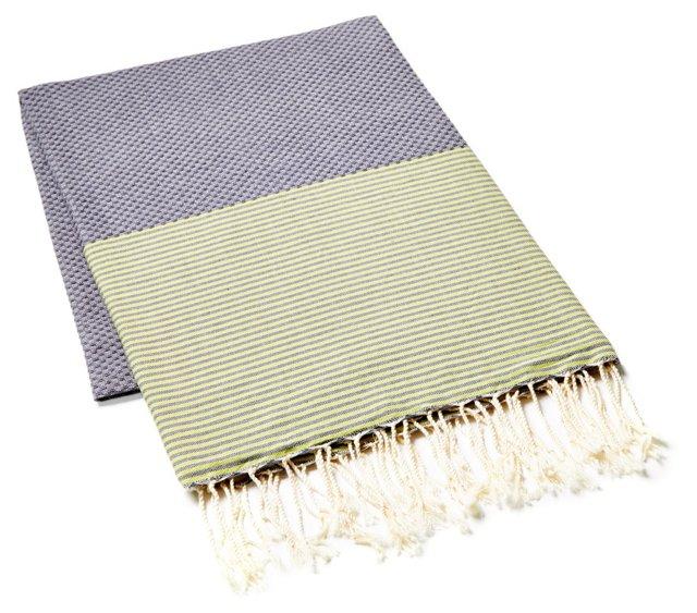 Fouta Thin Striped Towel, Gray/Green