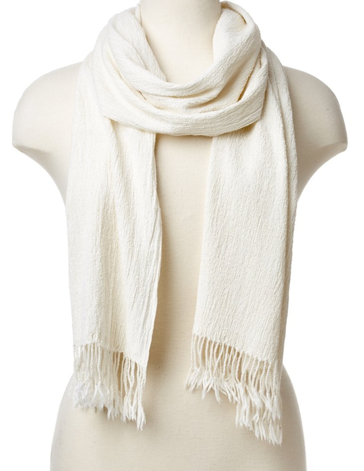 Pleated Wool Scarf, Cream