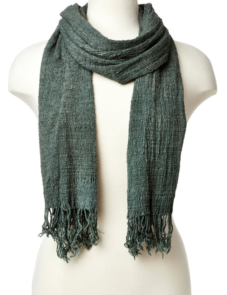 Pleated Wool Scarf, Green