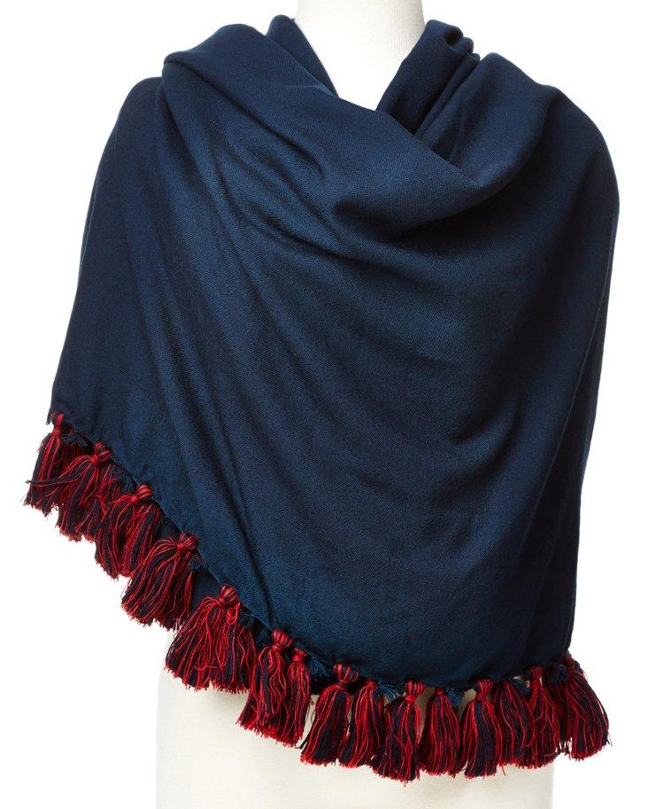 Wool Shawl w/ Pompoms, Navy/Red
