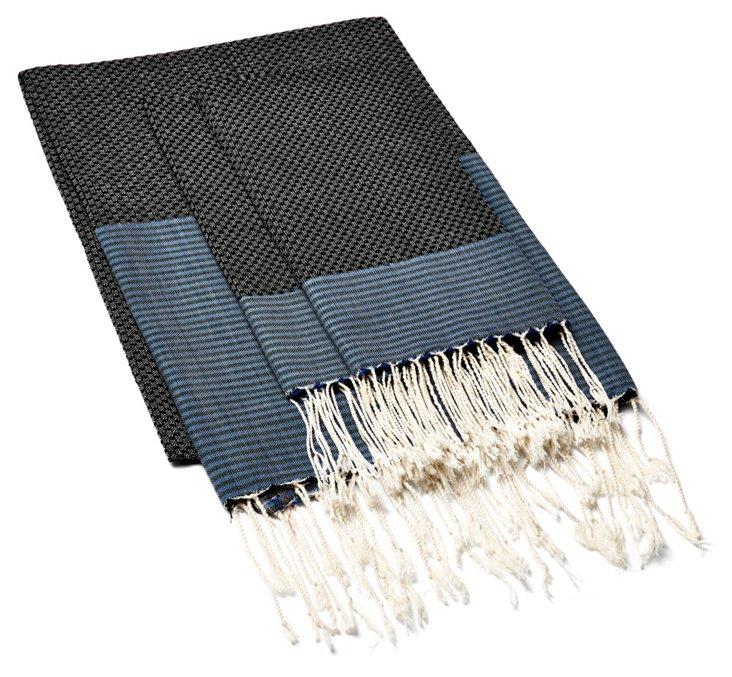 Fouta & S/2 Hand Towels, Black/Blue