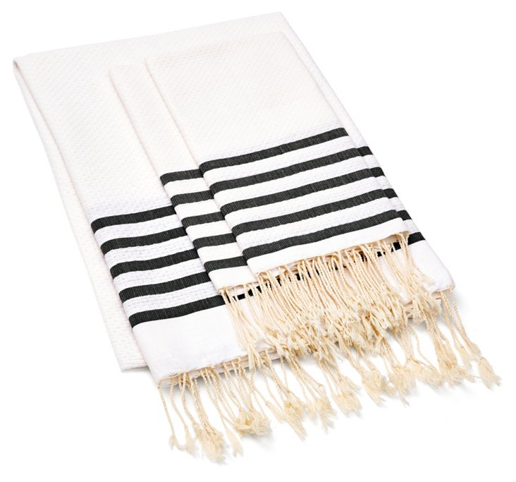 Fouta Striped & S/2 Hand Towels, Black