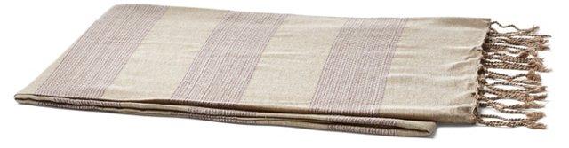 Tweed Striped Cotton Throw, Eggplant