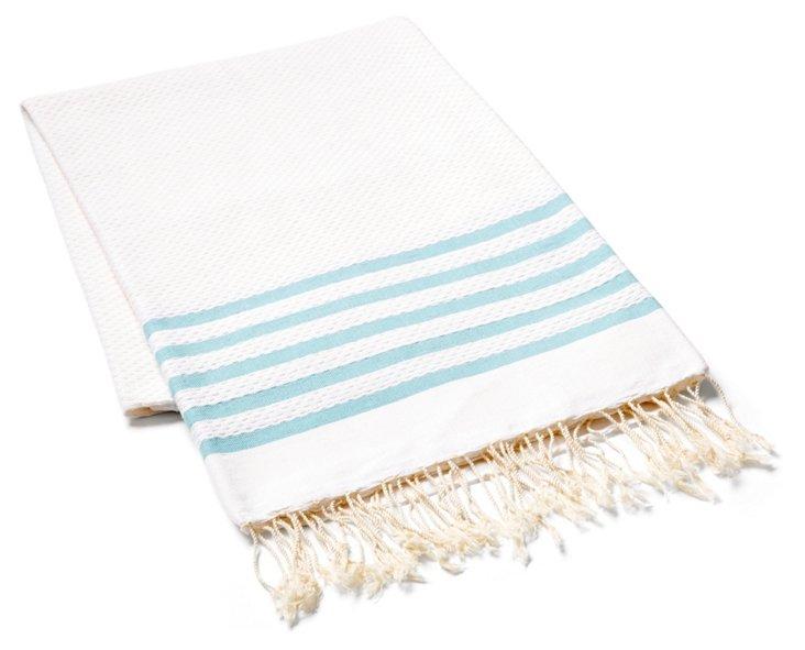 Striped Fouta Towel, Aqua/White