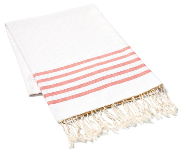 Striped Fouta Towel, Coral/White
