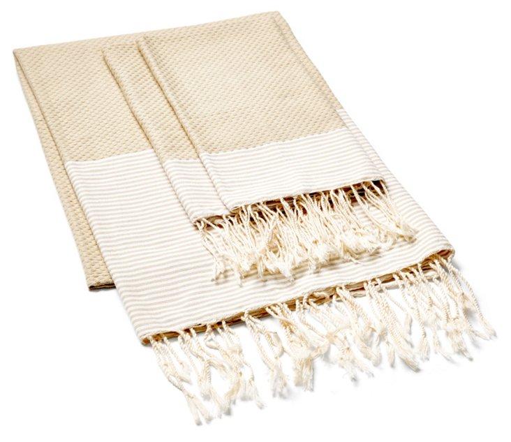 Striped Fouta & S/2 Hand Towels, Beige