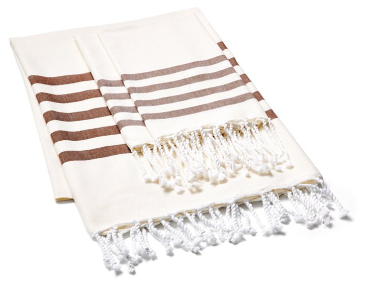 Striped Fouta & S/2 Hand Towels, Cream