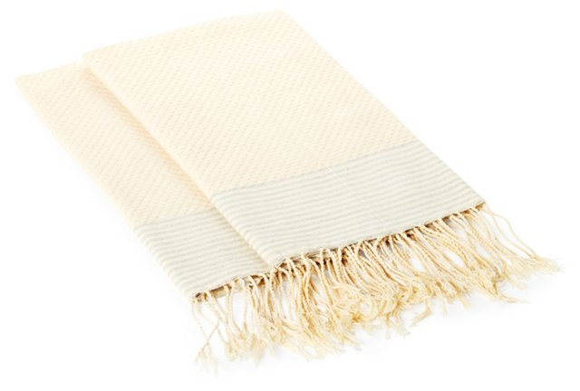 S/2 Thin Striped Towels, Cream/Gray
