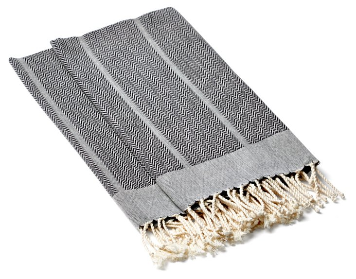 S/2 Chevron Kitchen Towels, Gray
