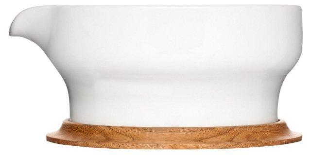 Stoneware Serving Bowl w/ Oak Lid/Base