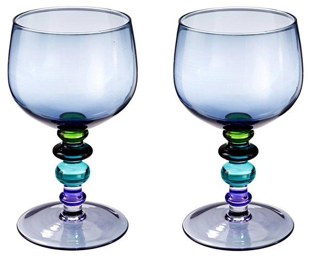 S/2 Spectra Wineglasses, Blue
