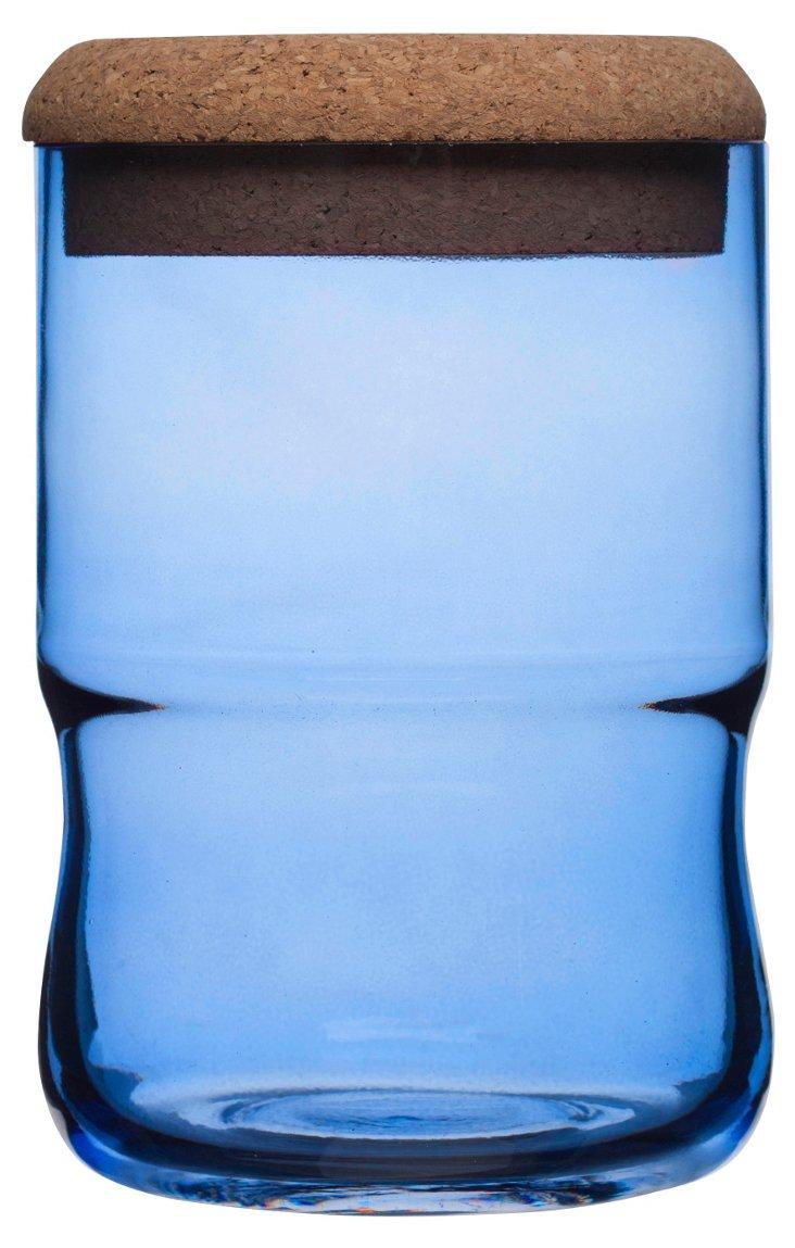Small Jar w/ Cork Lid, Blue