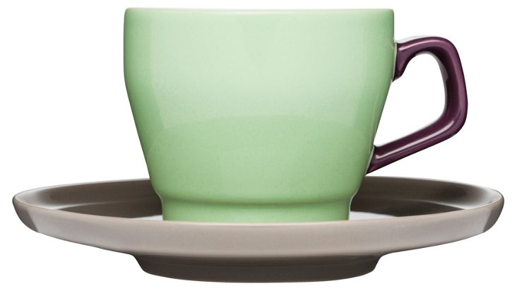 S/6 POP Coffee Cups & Saucers, Green