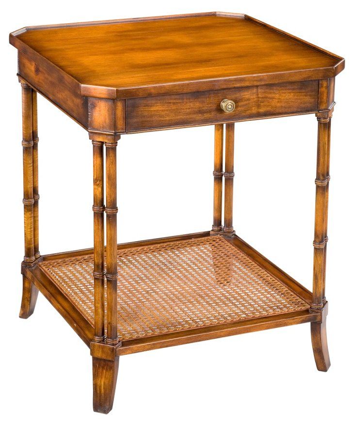 "Winston 24"" Square Side Table, Pecan"