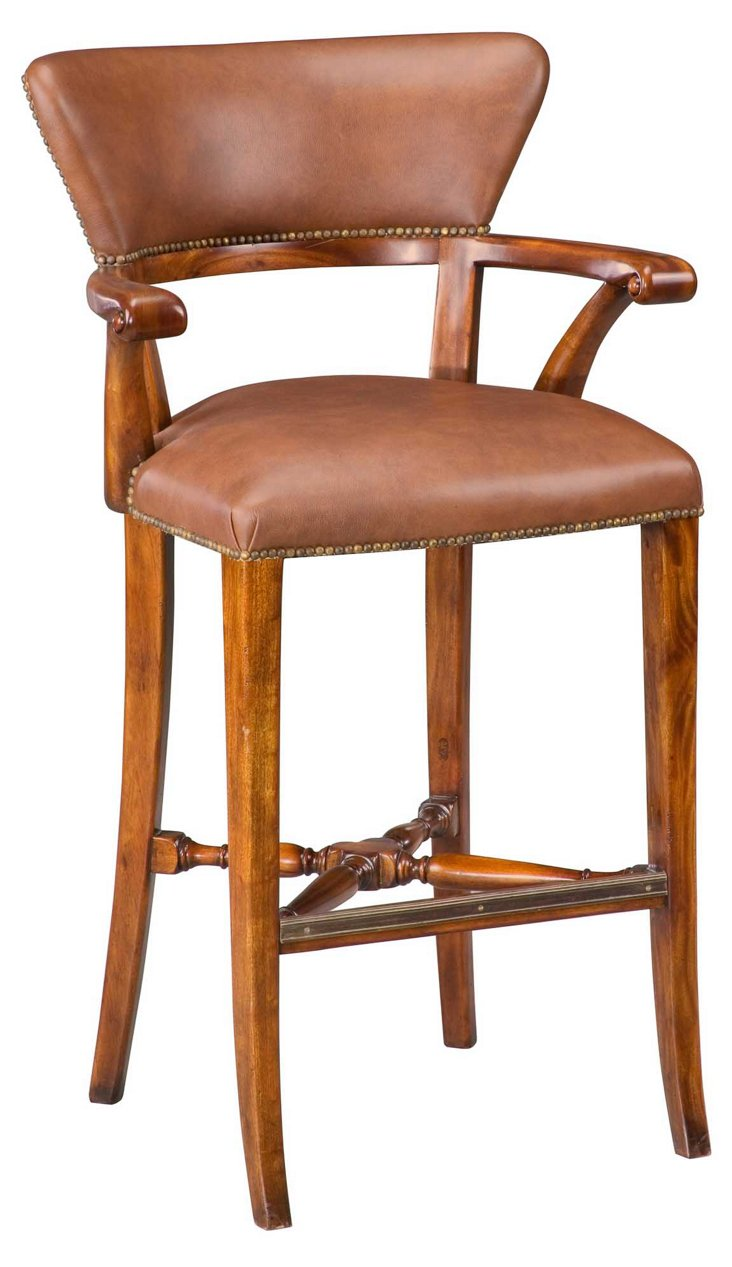 Aines Leather Bar Chair, Light Brown