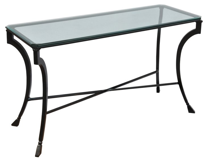 "Camargues 48"" Glass-Top Console, Black"