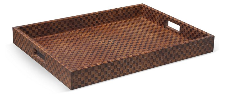 24x18 Checkered Leather Tray
