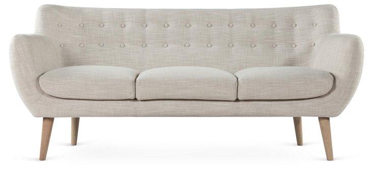"Annika 71"" Mod Button Sofa, Oatmeal"
