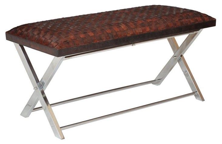 """Remy 40"""" Woven Leather Bench, Sienna"""