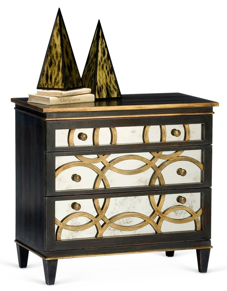 Clara Mirrored Dresser, Ebony/Gold