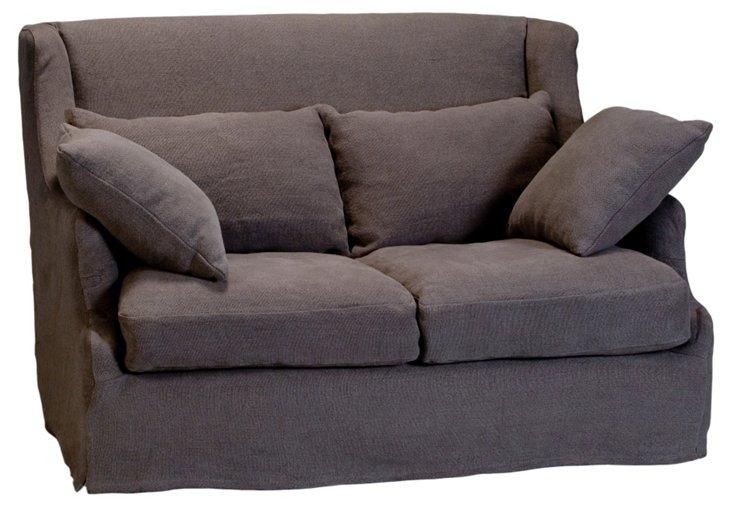 "Bickford 55"" Linen Wing Sofa, Gray"