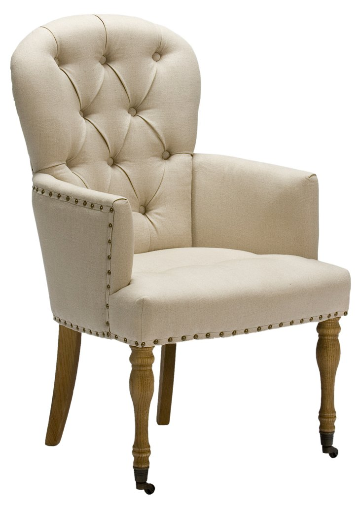 French Tufted Parlor Armchair, Cream