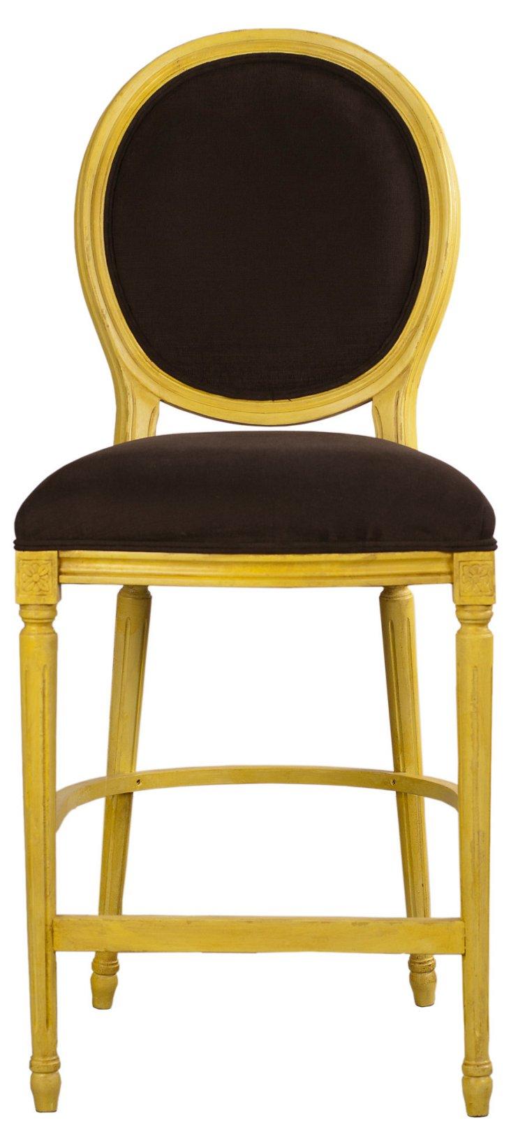 Louis XVI Counter Stool, Yellow