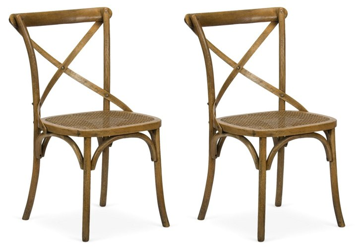 Large Cane Chairs, Pair