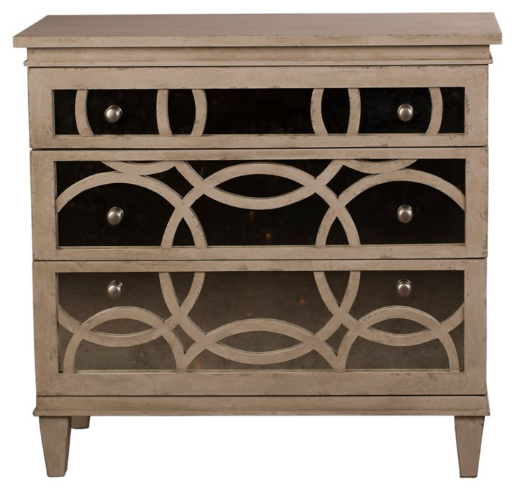 Virna Mirrored Chest, Washed Gray