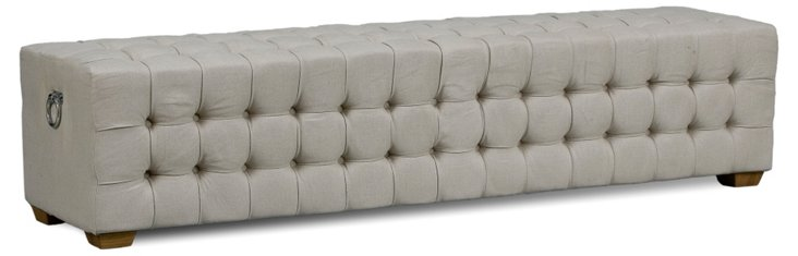 Long Tufted Bench, Beige Linen