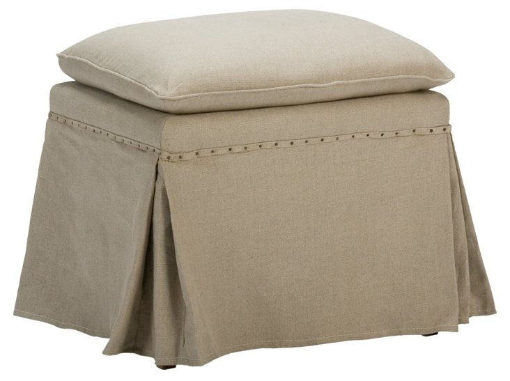 Darby Skirted Linen Ottomans, Pair