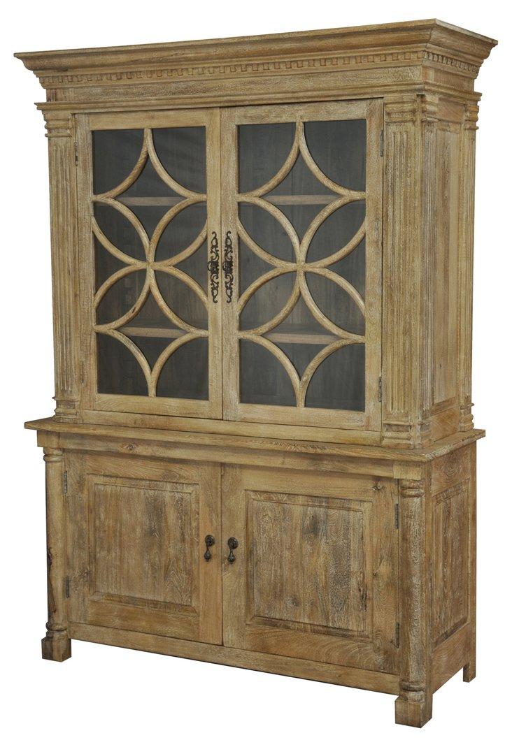 """Hartley 60"""" Display Cabinet, Driftwood"""