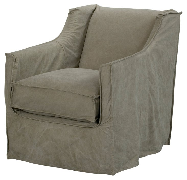 Wilshire Canvas Slipcover Chair, Pebble